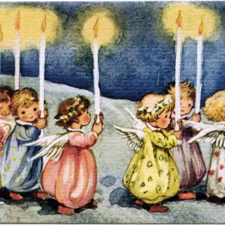 Little Angels Carrying Candles ~ Vintage Greeting Card Graphic