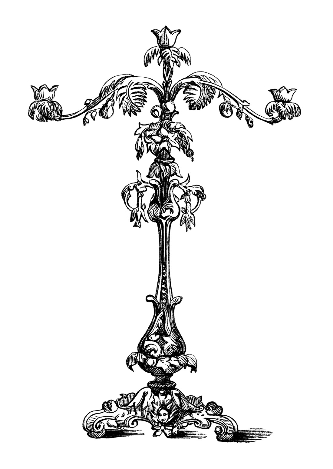 Antique Ornamental Candelabra Engravings Free Clip Art