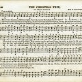 vintage sheet music, aged music page, old christmas song, christmas tree, printable holiday music