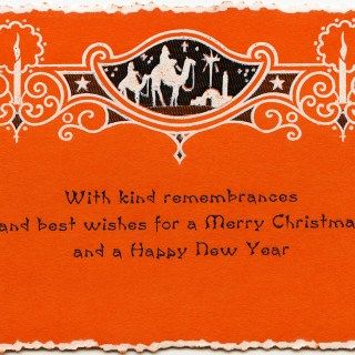 Free Vintage Orange Christmas Greeting Card Graphic