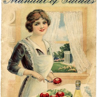 Manual of Salads Shabby Front Cover ~ Free Vintage Image