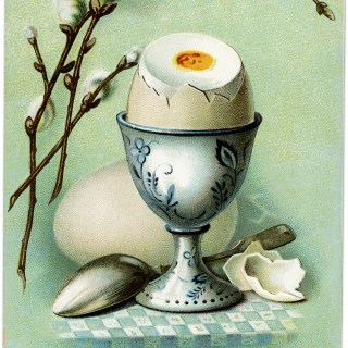 Vintage Egg in Cup Easter Greetings Postcard ~ Free Graphic Image