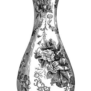 Floral Vase Engraving ~ Free Vintage Clip Art