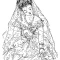 victorian bride clip art, free black and white clipart, vintage bride image, antique wedding illustration, bride printable