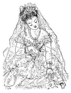 victorian bride clip art, free black and white clipart, vintage bride image, antique wedding illustration, bride printable