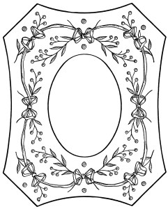 vintage embroidery pattern, Victorian clip art frame, black and white graphics, printable photo frame, ornate vintage graphics, berries and bows design