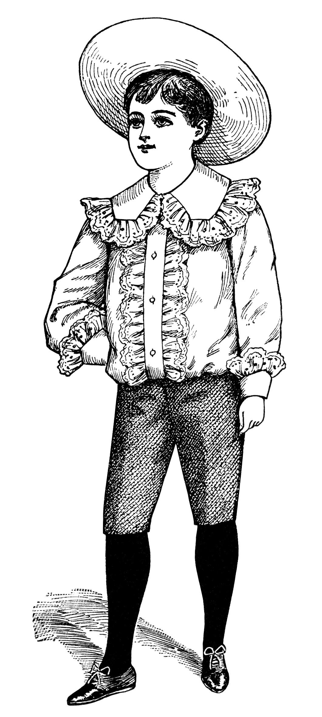 Victorian Boy Summer Fashion Free Vintage Clip Art
