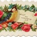 Victorian calling card, vintage card flowers bird, vintage floral clip art, old fashioned ephemera free