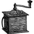 vintage coffee grinder, grinder clipart, black and white clip art, vintage kitchen graphics