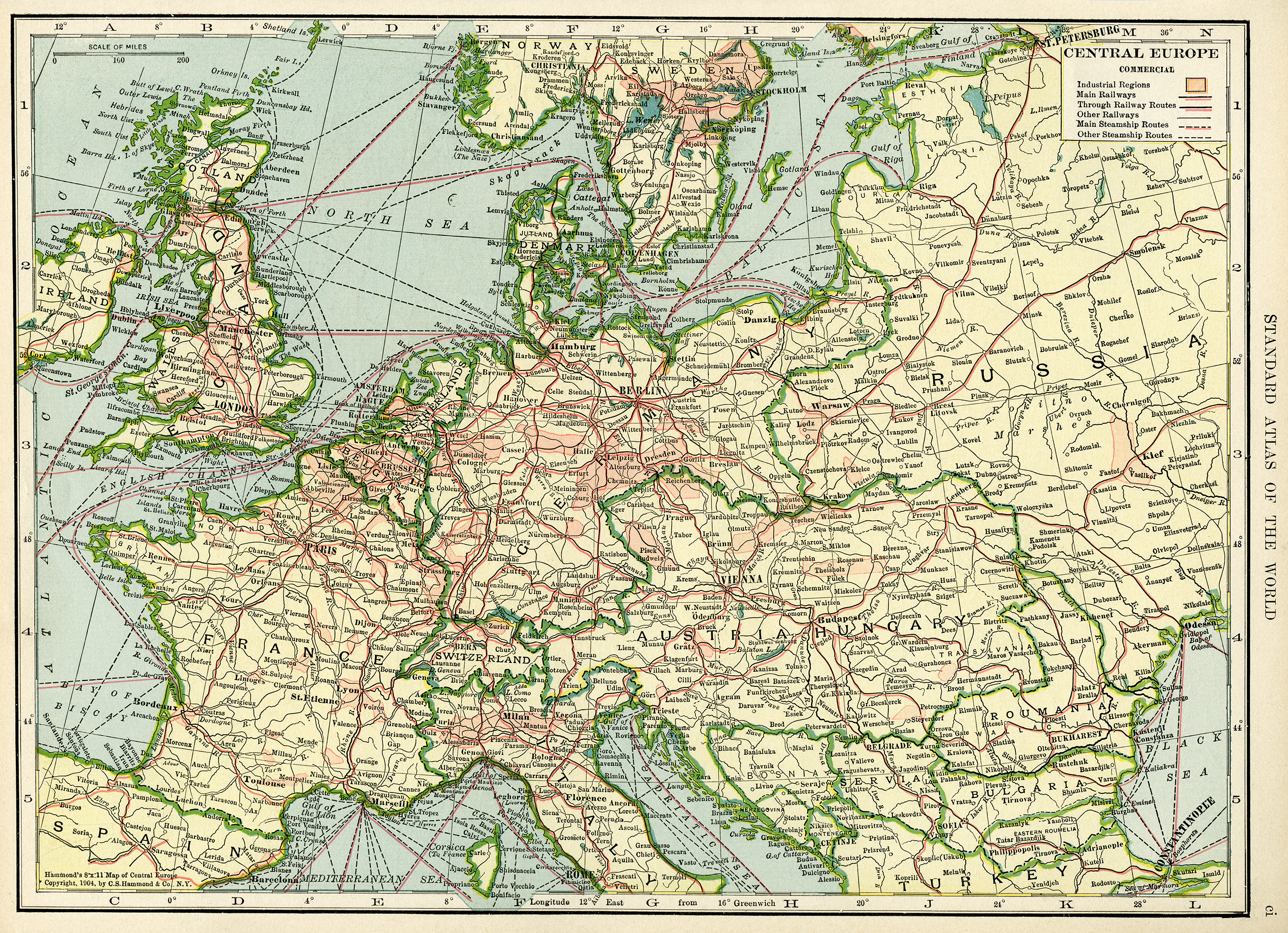 Central Europe Vintage Geography Map Free Digital Image