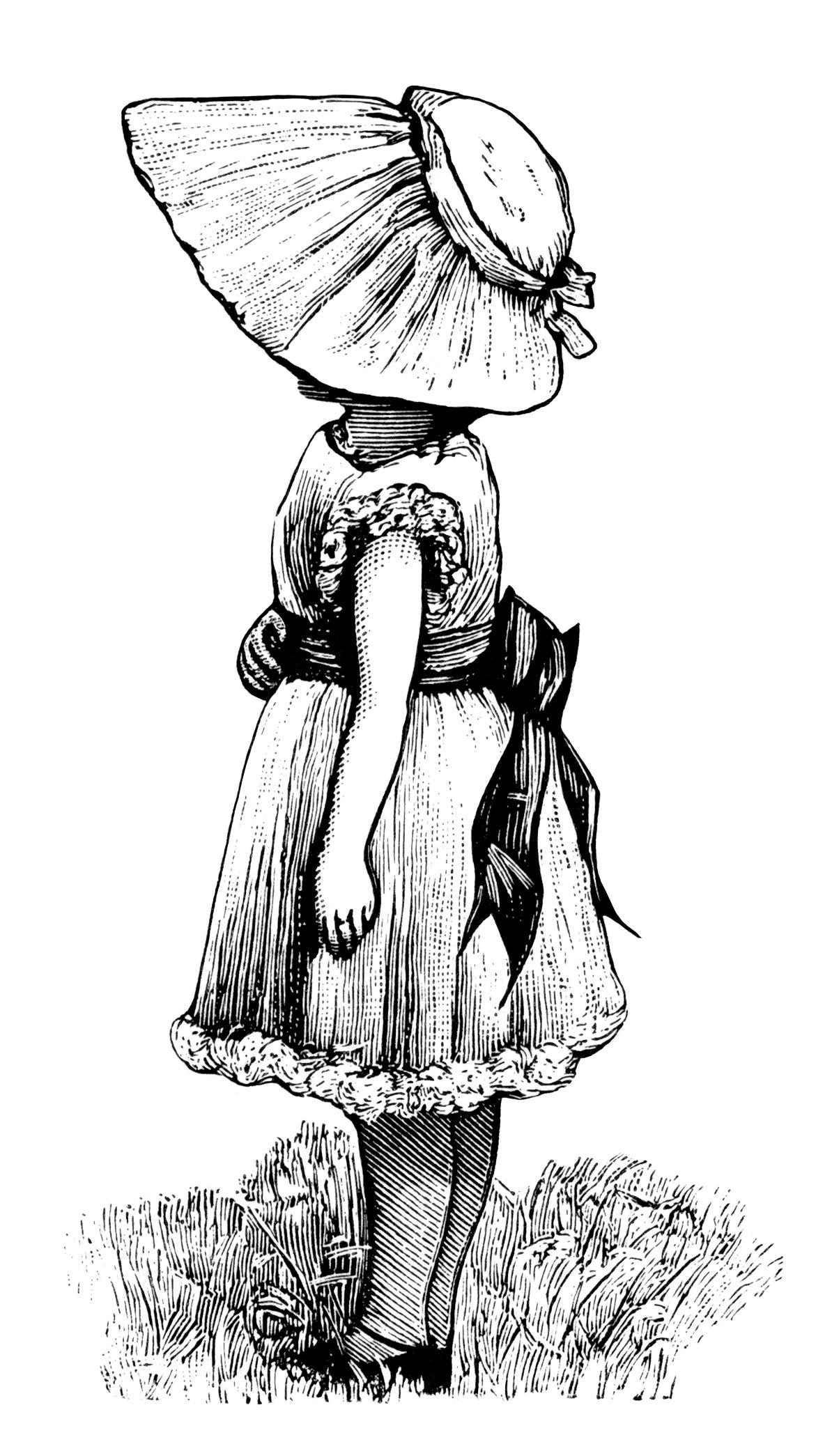 Victorian Girl With Large Bonnet Free Vintage Clip Art