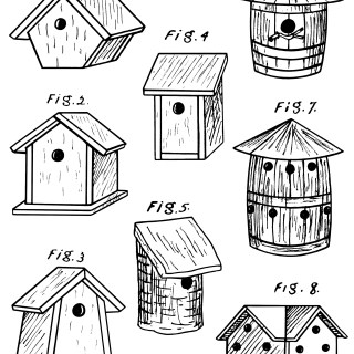 Birdhouses ~ Free Vintage Clip Art