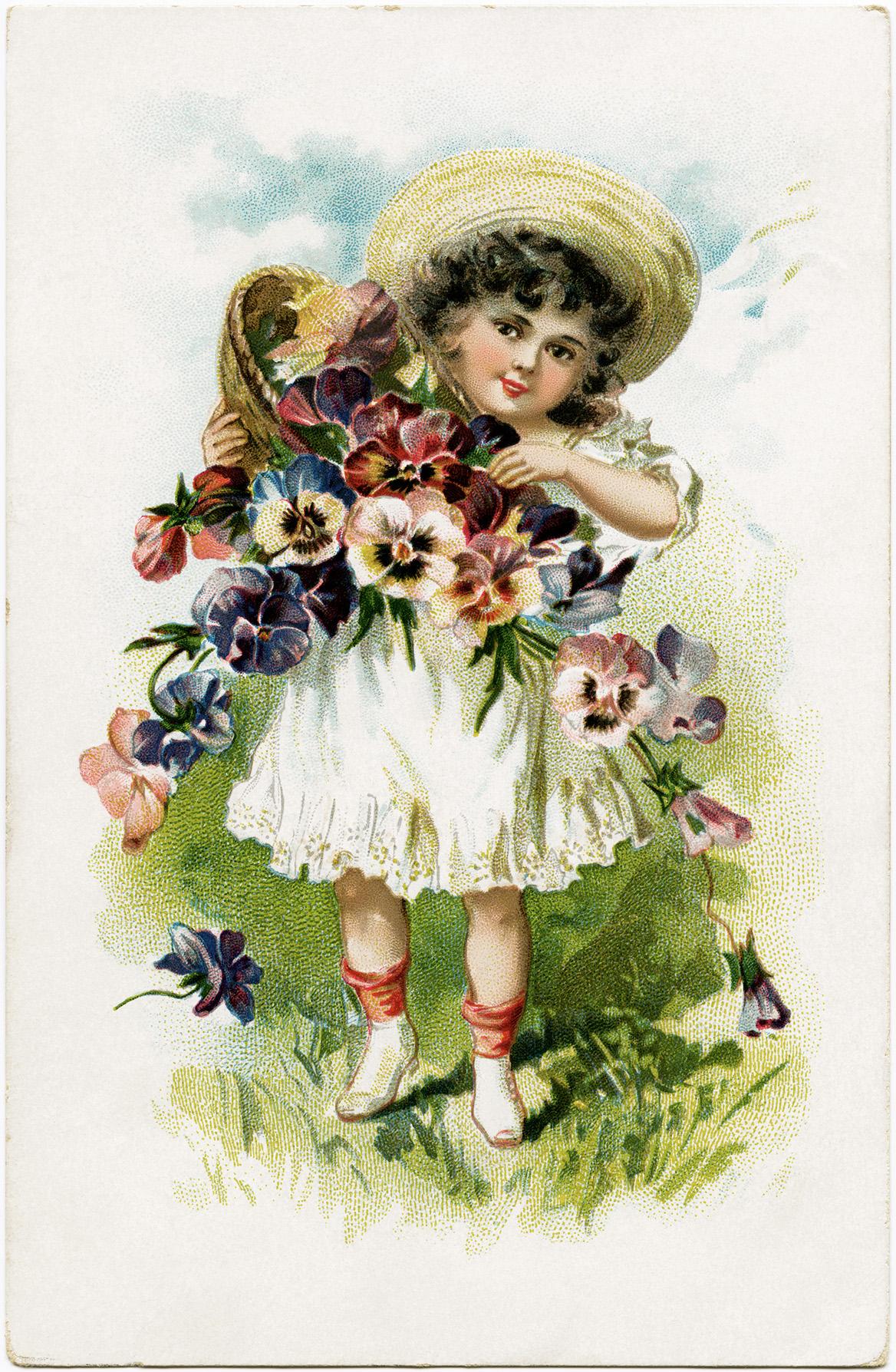 Victorian Flower Girl Free Vintage Postcard Image Old
