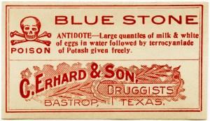 C. Erhard & Son, vintage poison label, Halloween clip art, vintage druggist pharmacy label, blue stone poison