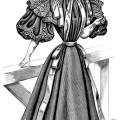 Victorian lady, antique ladies dress, vintage fashion clip art, black and white clipart, old fashioned dress illustration