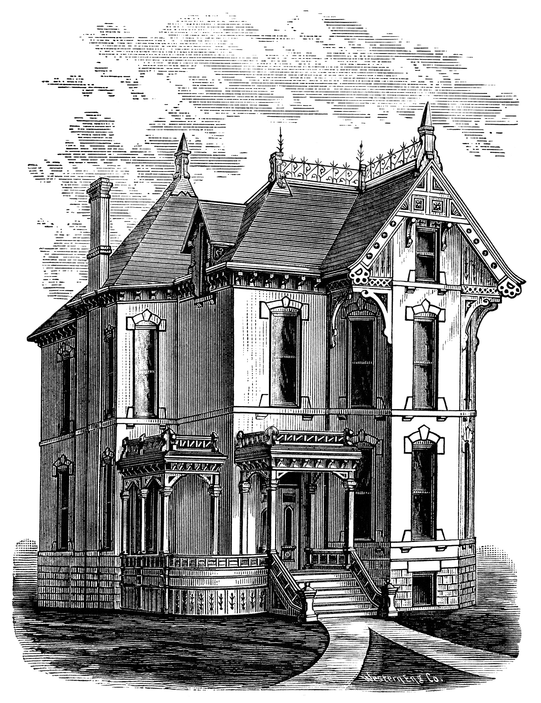 Elegant Victorian Spooky House ~ Free Clip Art | Old ...