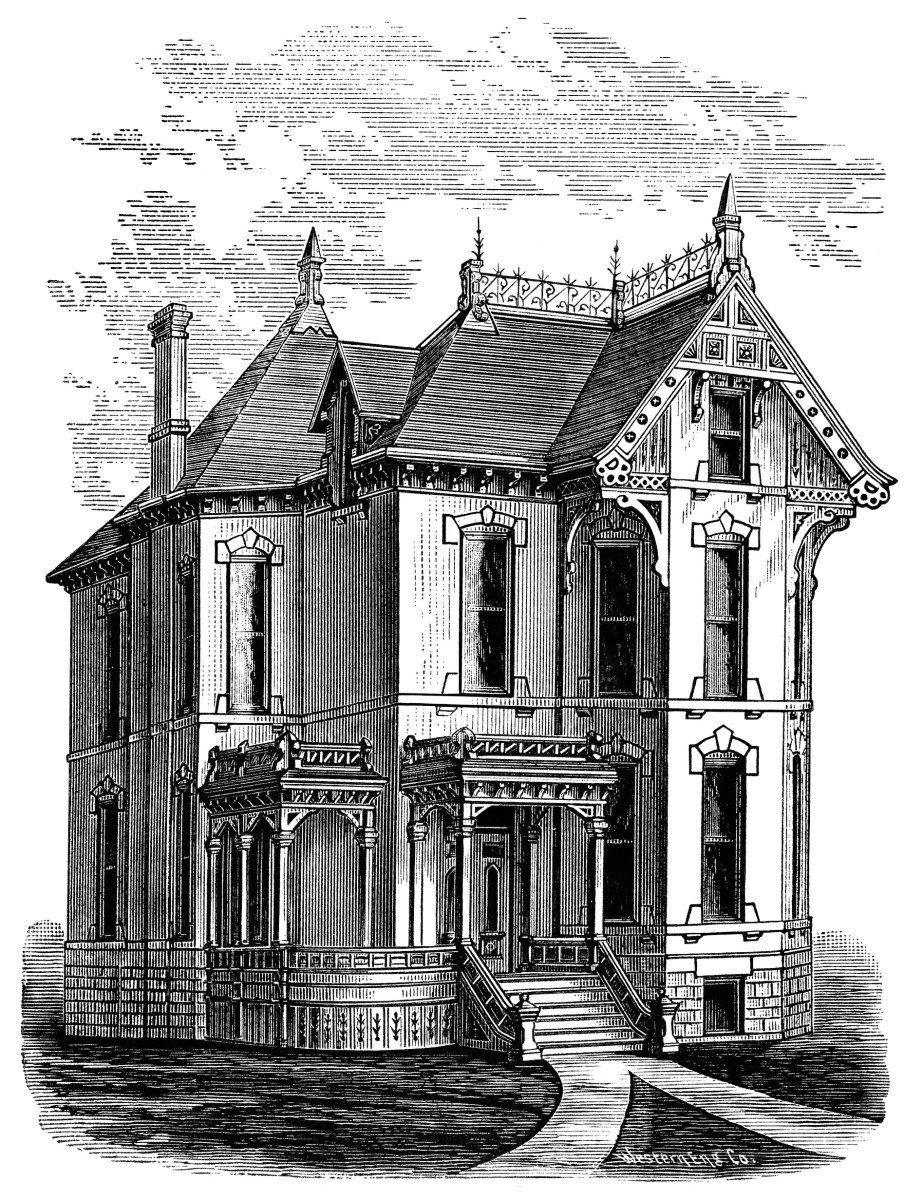 Mansion Drawing: Elegant Victorian Spooky House ~ Free Clip Art