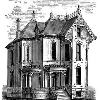 Elegant Victorian Spooky House ~ Free Clip Art
