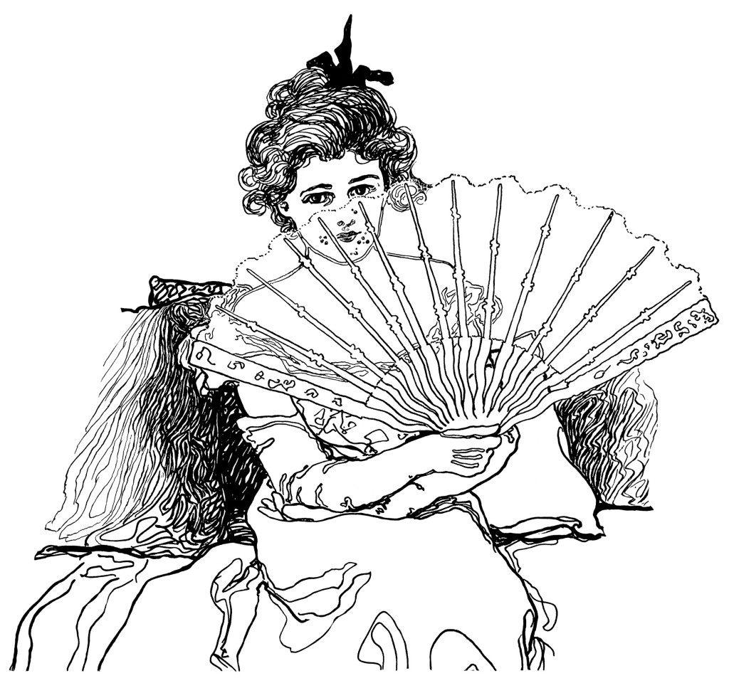 Victorian Lady Holding Fan Free Clip Art Old Design