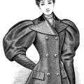 Victorian lady illustration, vintage woman clip art, black and white clipart, Edwardian fashion image, antique jacket style