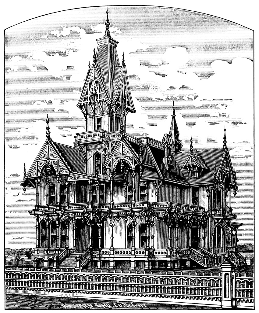 Coloring Black House Haunted And White