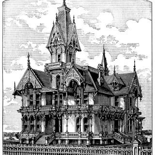 Elegant Victorian Villa ~ Free Spooky House Clip Art