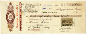 vintage French cheque, French ephemera, Georges Belloy, antique Paris French receipt, vintage check graphic