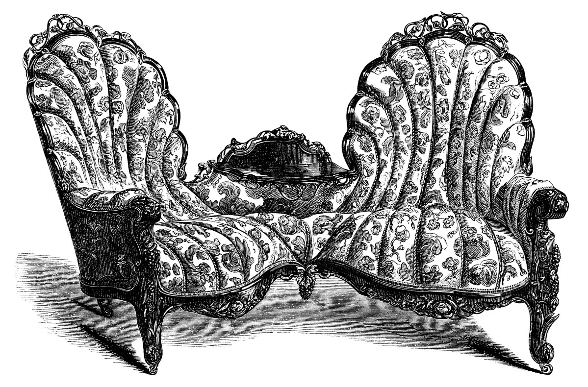 Victorian Furniture Sofa And Chair Free Clip Art Old