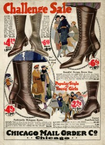 1920s fashion, Chicago mail order co, old fashioned boot, vintage catalog page, shabby vintage graphic, antique shoe illustration