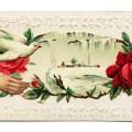 Victorian calling card, vintage ephemera, free vintage card, old fashioned visiting card, printable card hand flower, winter scene card