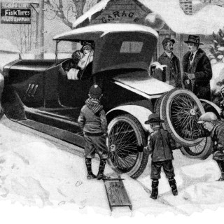 Fisk Tires Winter Scene ~ Free Vintage Graphics