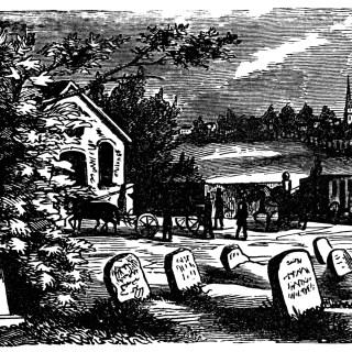 Vintage Graveyard Scene ~ Free Clip Art