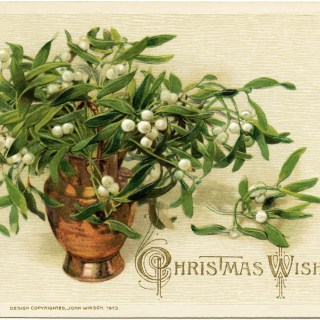 Mistletoe and Berries ~ Vintage Christmas Image