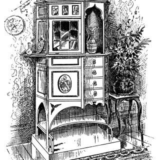 Chippendale Cabinet ~ Free Vintage Clip Art