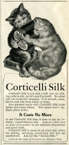 Corticelli Silk, vintage magazine advertisement, kittens clip art, vintage sewing printable, black and white graphics
