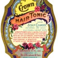 J.B. Lynas & Son, Crown tonic label, vintage beauty label graphic, free printable label, antique hair care illustration