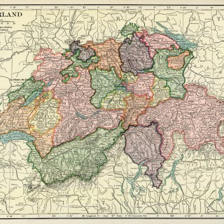 Map of Switzerland ~ Free Vintage Image