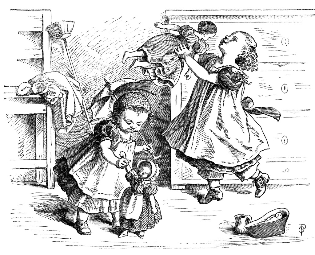 Playing Dollies Free Vintage Clip Art
