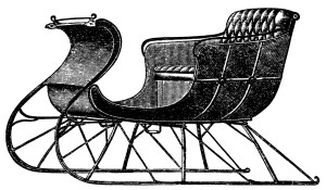 vintage sleigh clip art, old catalog page, horse drawn sleigh, vintage horse cutter, black and white graphics