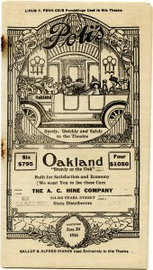 Oakland car ad, antique theatre booklet, vintage ephemera printable, old book cover, Hartford theatre 1916