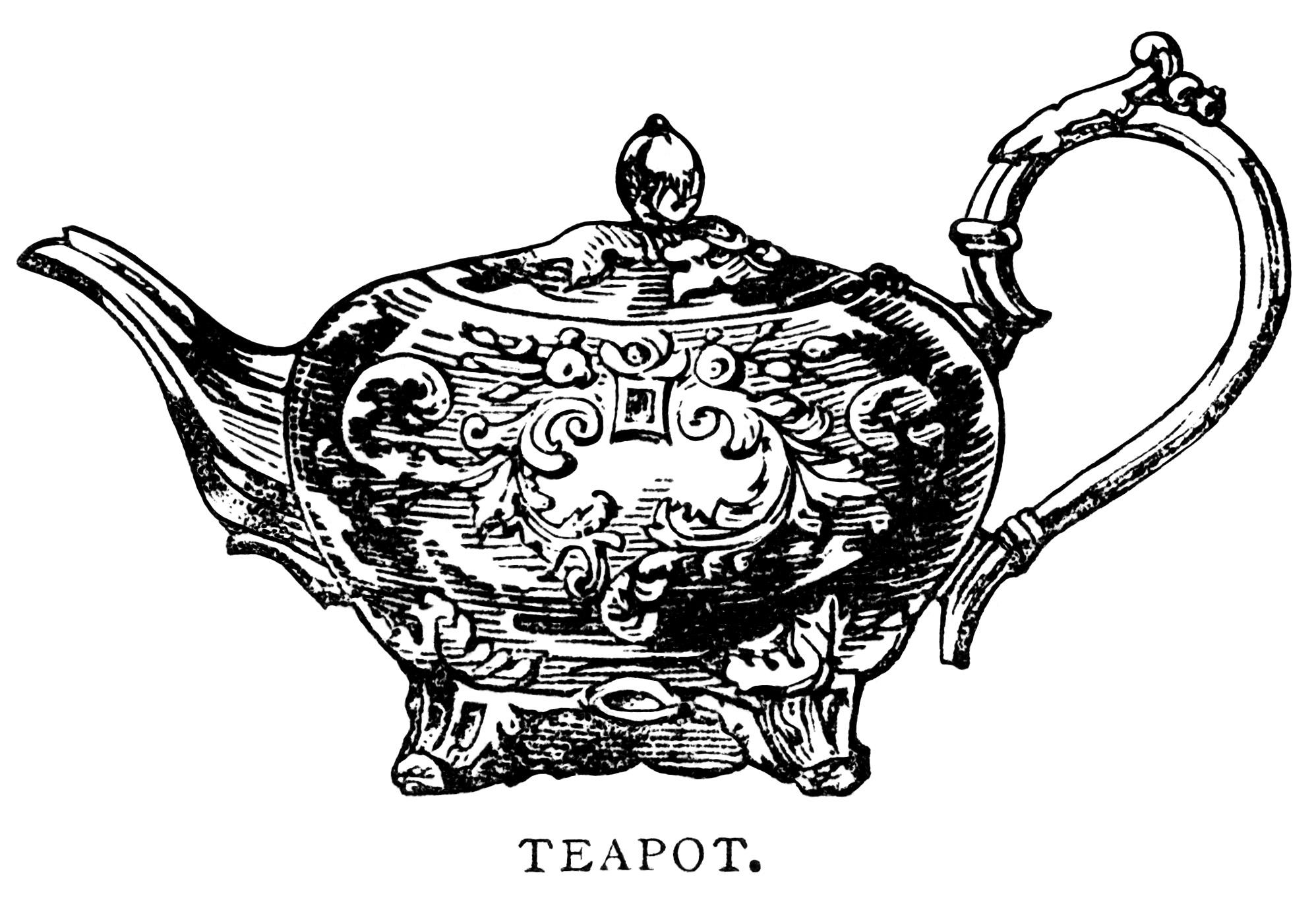 Antique Teapot Free Clip Art Illustration