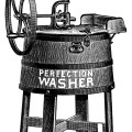 old catalogue ad, vintage laundry clip art, antique washing machine illustration, free black and white clipart, clothes washer graphics