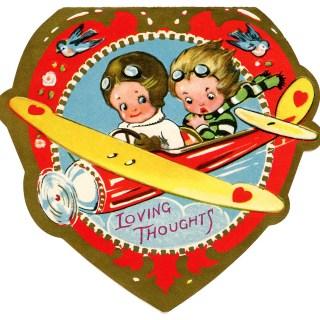 Boys in Biplane ~ Free Valentine Clip Art