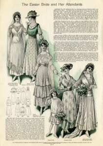 vintage wedding clip art, Edwardian bride illustration, antique bridesmaid dress, vintage flowergirl clipart, bridal fashion graphics 1915