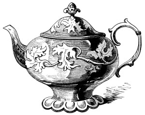 Victorian tea pot illustration, vintage teapot clipart, black and white graphics, free kitchen printable, antique tea pot engraving