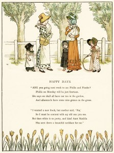 Kate Greenaway, Happy Days, vintage storybook image, printable vintage poem, mother and child clipart, old book page, Marigold Garden