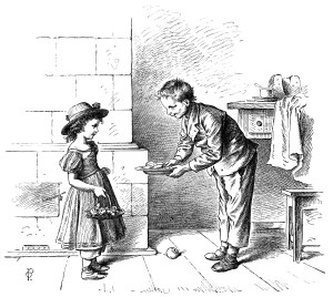 black and white clip art, Oscar pletsch engraving, how polite pletsch, Victorian children clip art, vintage storybook illustration