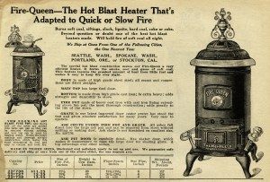 Fire Queen stove, antique stove ad, black and white clip art, parlor heater illustration, coal burning stove clip art, digital catalog advert