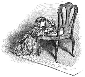 a year with dolly, girl doll clip art, black and white graphics, Eudora Bumstead, doll poem, vintage doll clipart