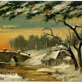Vintage Christmas Country Scene